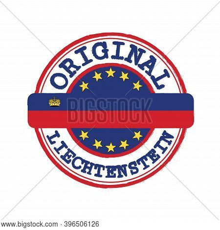 Vector Stamp Of Original Logo With Text Liechtenstein And Tying In The Middle With Nation Flag. Grun