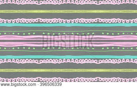Seamless Tribal Ornament. Gray Mexican Ethnic Pattern. Drawn By Pencil Shibori Texture. Geometric Bo