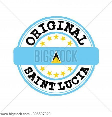 Vector Stamp Of Original Logo With Text Saint Lucia And Tying In The Middle With Nation Flag. Grunge