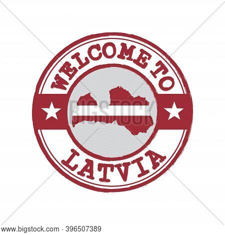 Vector Stamp Of Welcome To Latvia With Map Outline Of The Nation In Center. Grunge Rubber Texture St