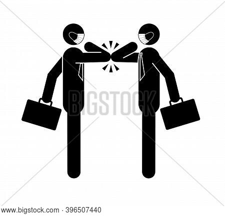 Two Business People Bumping Elbows While Greeting Each Other At Work In Office,  New Greeting To Avo
