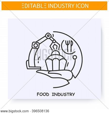 Food Industry Line Icon. Food And Beverage Manufacturing. Technological Process. Contemporary Produc