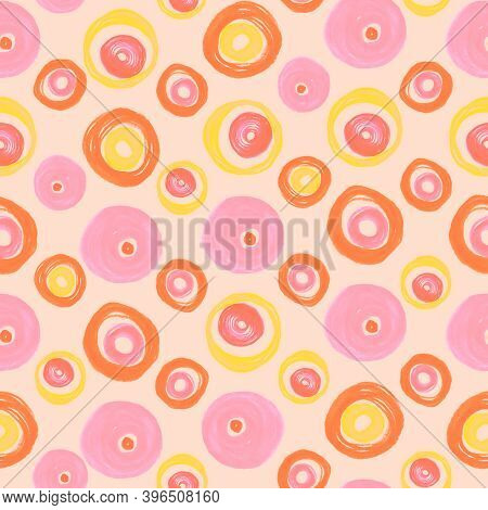 Random Seamless Circles. Red Geometric Background. Hand Drawn Rounds Pattern. Graphic Textile Print.