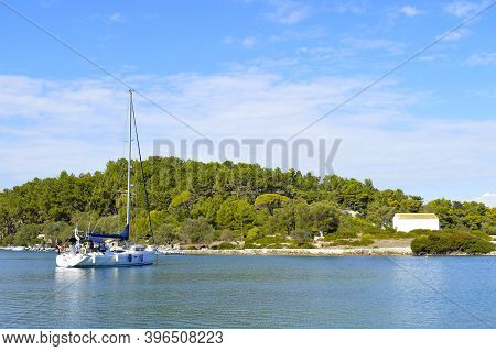 Antipaxos Harbour, Greece - October 01, 2017 : Antipaxos Harbour A Small Island South Of Corfu A Gre