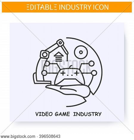 Video Game Industry Line Icon. Game Design And Development. Virtual Reality Technology. Contemporary