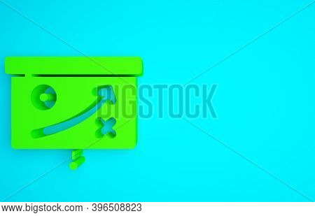Green Planning Strategy Concept Icon Isolated On Blue Background. Cup Formation And Tactic. Minimali