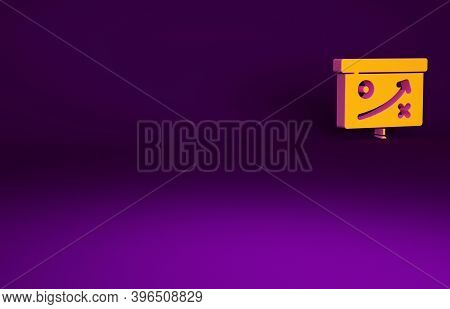 Orange Planning Strategy Concept Icon Isolated On Purple Background. Cup Formation And Tactic. Minim