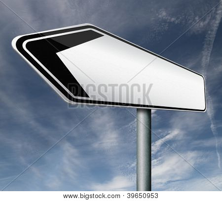 road sign or signpost arrow blank and empty