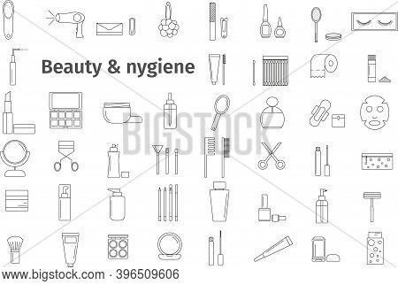 Vector Set Of Beauty And Hygiene Icons. Images Can Be Resized In A Simple Personal Care Style. Black