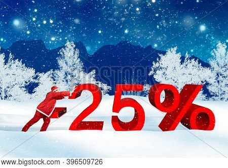 25 Percent Winter Sale Advertising With An Elf In The Wintery Landscape