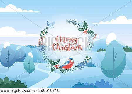 Vector Illustration Of Winter Landscape With Christmas Greetings. Flat Cartoon Style. Merry Christma