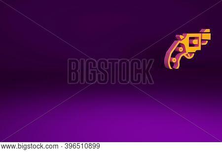 Orange Small Gun Revolver Icon Isolated On Purple Background. Pocket Pistol For Self-defense. Ladies