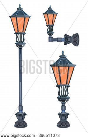 Street Lamps Realistic Set Isolated On White Background. Collection Of City Victorian Light. Road Ol
