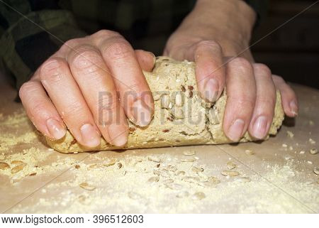 Knead The Dough With Your Hands. Female Hands And Dough For Gluten-free Bread. Bread Made From Vario
