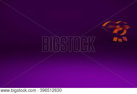 Orange Herpes Lip Icon Isolated On Purple Background. Herpes Simplex Virus. Labial Infection Inflamm