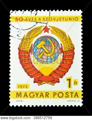 Hungary - Circa 1972 : Cancelled Postage Stamp Printed By Hungary, That Shows Coat Of Arms Honoring