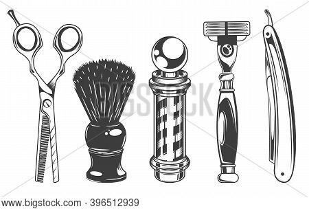 Hairdressers Tools And Barbershop Set Of Vector Black And White Style Objects, Design Elements In Re