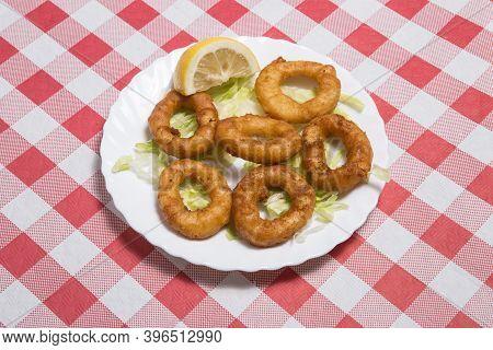 Typical Spanish Tapas. Fried Squid Rings Ration. Racion De Calamares Fritos