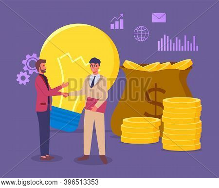New Business Idea Aimed At Increasing Profits, Conclusion Of A Deal With A Business Partner. Flat Bu