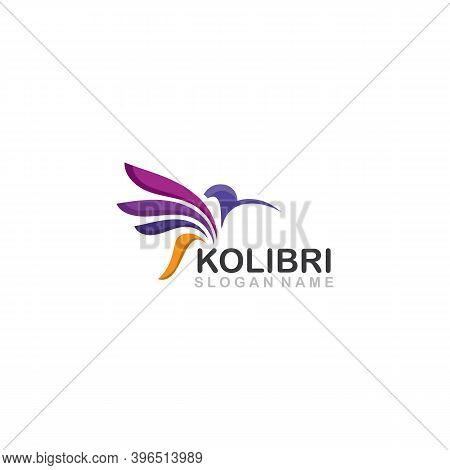 Abstract Colorful Colibri Bird Logo Line Outline Creative Vector Icon Illustration