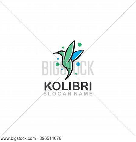 Colibri Bird Logo Line Outline Creative Vector Icon Illustration Design