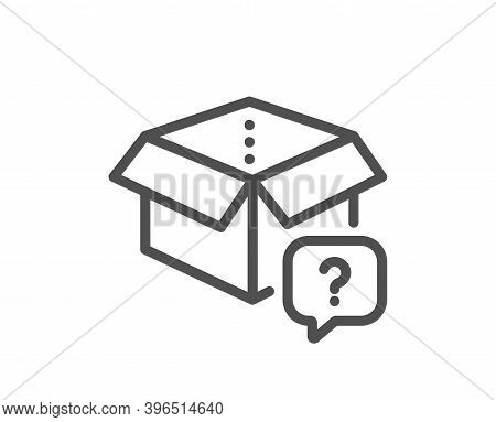 Secret Package Line Icon. Unknown Delivery Box Sign. Question Mark Symbol. Quality Design Element. L
