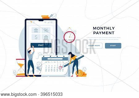 Monthly Payment Homepage Template. Man Pays Regular Fees Online, Woman Makes Notice In Calendar. Kee