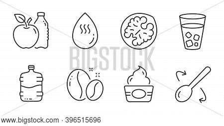 Apple, Hot Water And Ice Tea Line Icons Set. Coffee Beans, Cooler Bottle And Ice Cream Signs. Cookin