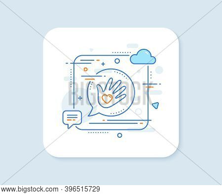 Social Responsibility Line Icon. Abstract Square Vector Button. Hand With Heart Sign. Charity Symbol
