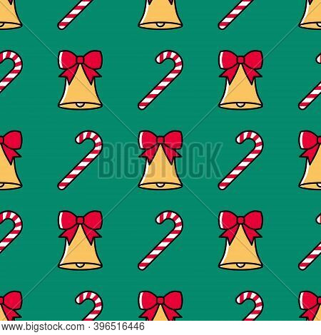 Christmas Seamless Pattern With Bells And Candy Canes On A Green Background. Cute Colorful Festive B
