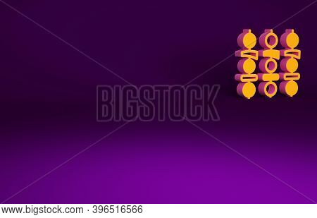 Orange Grilled Shish Kebab On Skewer Stick Icon Isolated On Purple Background. Meat Kebab On Skewer