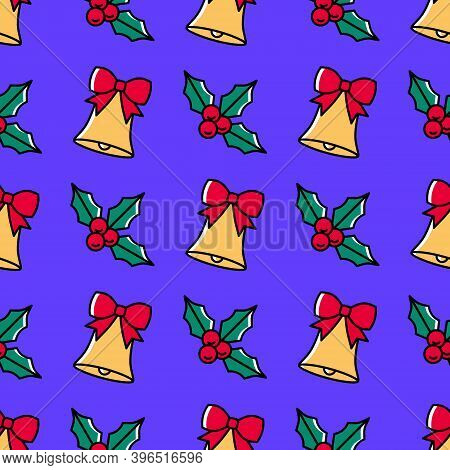Trendy Christmas Seamless Pattern With Holly And Handbells On A Violet Background. Cute Colorful Fes