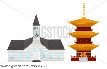 Temples Of Different Religion With Catholic Church And Pagoda Vector Set