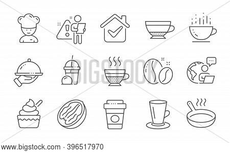 Cafe Creme, Dry Cappuccino And Cooking Chef Line Icons Set. Ice Cream, Teacup And Takeaway Coffee Si