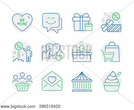Holidays Icons Set. Included Icon As Surprise Package, Buyers, Be Mine Signs. Carousels, Sale Bags,