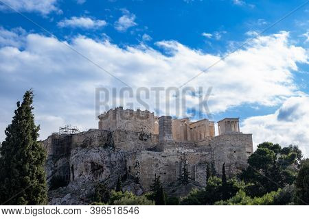 Acropolis Of Athens, View From Areopagus Hill In Greece