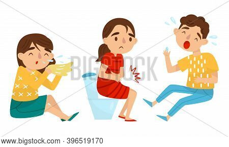 Little Boy And Girl Suffering From Runny Nose And Stomachache Vector Set