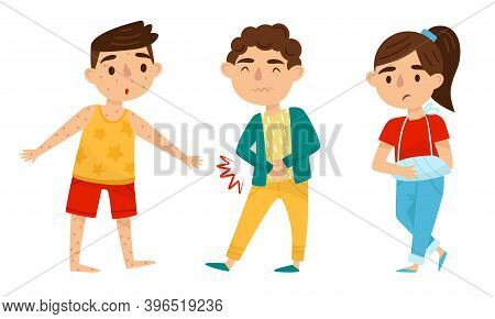 Little Boy And Girl Suffering From Stomachache And Chicken Pox Vector Set