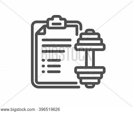 Dumbbell Line Icon. Workout Plan Sign. Gym Fit Report Symbol. Quality Design Element. Linear Style D