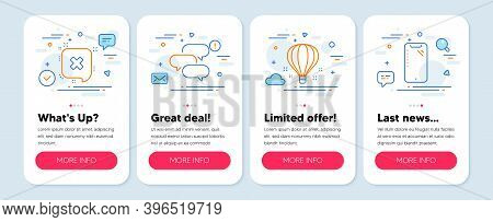 Set Of Business Icons, Such As Reject, Talk Bubble, Air Balloon Symbols. Mobile App Mockup Banners.