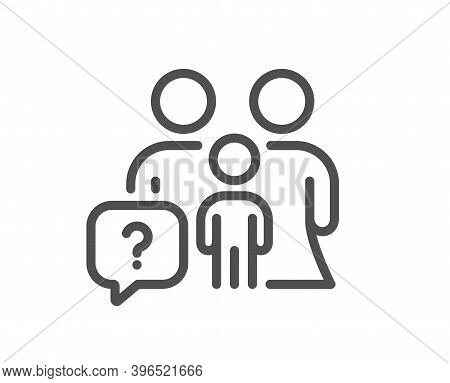 Family Questions Line Icon. Question Mark Sign. People Insurance Symbol. Quality Design Element. Lin