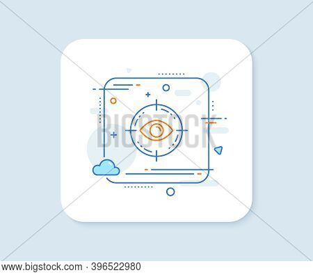 Eye Target Line Icon. Abstract Square Vector Button. Oculist Clinic Sign. Optometry Vision Symbol. E