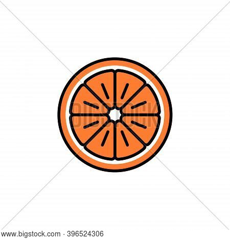 Orange Slice Vector Icon In Trendy Minimalist Style For Christmas Holidays. Cute Bright Orange Fruit