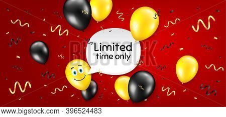 Limited Time Symbol. Balloon Confetti Vector Background. Special Offer Sign. Sale. Birthday Balloon