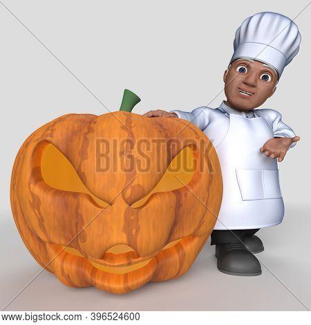 3D Render of Cartoon Baker Character