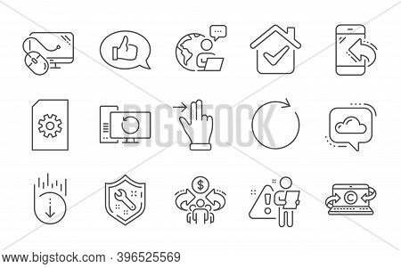 Copywriting Notebook, Spanner And Touchscreen Gesture Line Icons Set. Sharing Economy, Computer Mous