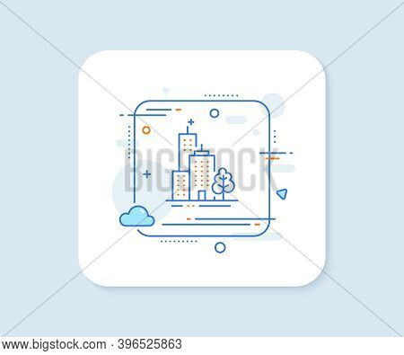 Skyscraper Buildings Line Icon. Abstract Square Vector Button. City Architecture With Tree Sign. Tow