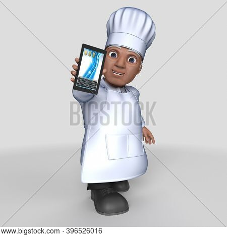 3D Render of Cartoon Baker Character
