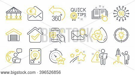 Set Of Technology Icons, Such As 5g Technology, 360 Degrees, Hdd Symbols. Recycle Water, Vip Timer,