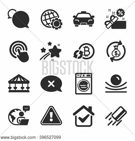 Set Of Business Icons, Such As Money Exchange, Refresh Bitcoin, Laundry Symbols. Click, Reject, Glob